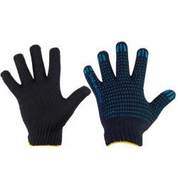 Перчатки рабочие, хлопчатобумажные с ПВХ, 10 класс, 5 нитей (черные)