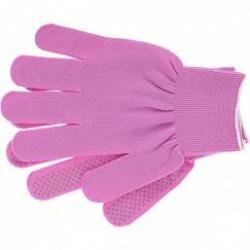 Перчатки нейлон, ПВХ точка, 13 класс, цвет розовая фуксия, L, артикул 67826