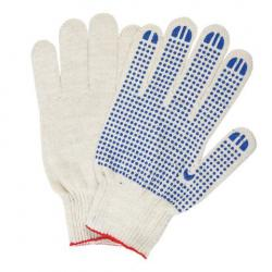 Перчатки хлопчатобумажные Лайма люкс, 10 класс, 116 текс, ПВХ точка, 5 пар, цвет белый