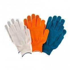Перчатки в наборе, цвета оранжевые, синие, белые, ПВХ точка, размер XL